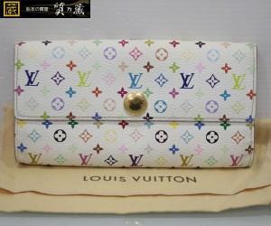 ルイヴィトンのマルチカラー白ポルトフォイユサラ長財布M93532