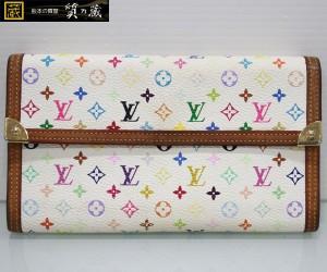 ルイヴィトンのマルチカラー白3つ折長財布