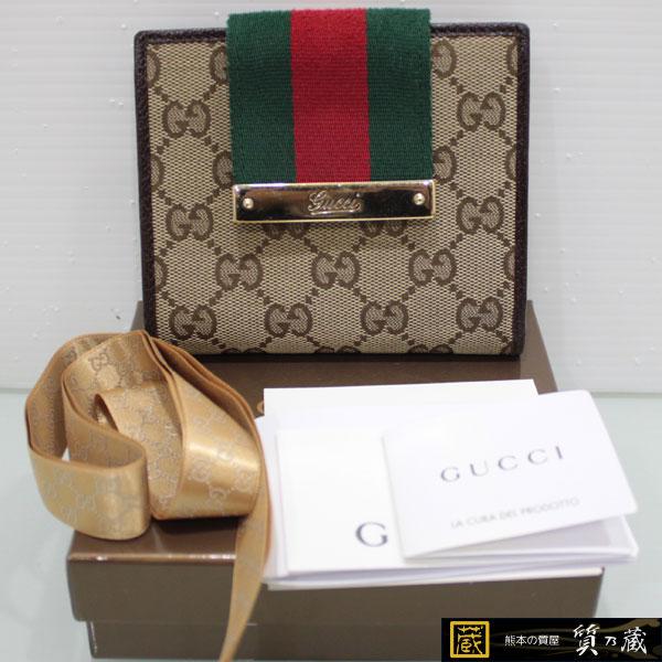 hot sale online c538d 14ed4 グッチGUCCI GG柄 シェリーライン 財布181669カーキを買取 ...