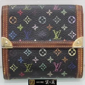 ルイヴィトンの黒・マルチカラー ダブルホック財布M92984